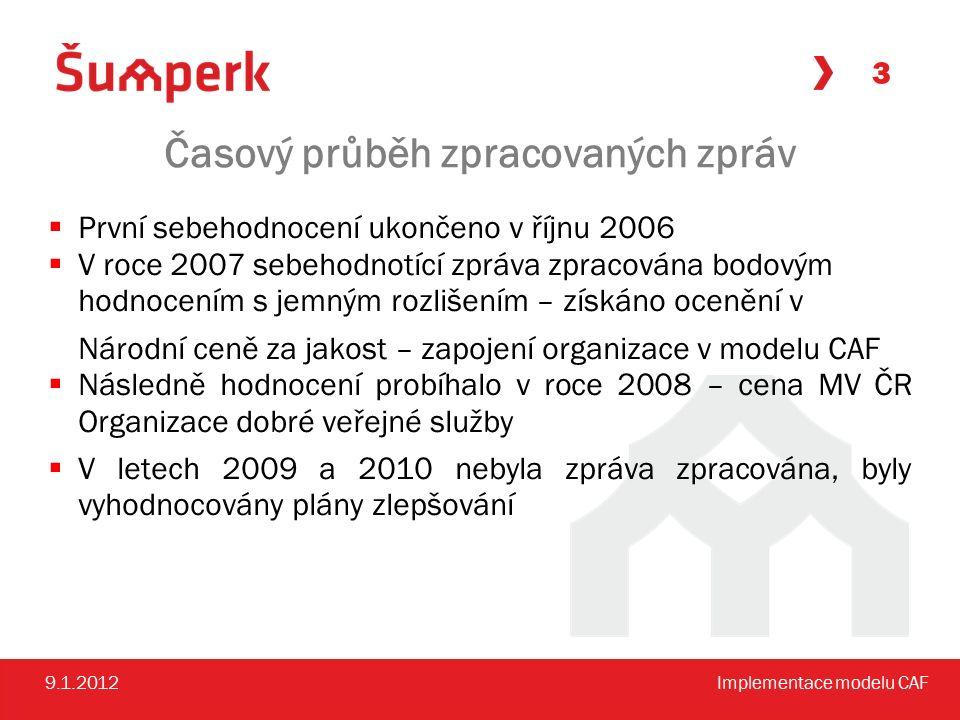 Časový průběh zpracovaných zpráv  První sebehodnocení ukončeno v říjnu 2006  V roce 2007 sebehodnotící zpráva zpracována bodovým hodnocením s jemným rozlišením – získáno ocenění v Národní ceně za jakost – zapojení organizace v modelu CAF  Následně hodnocení probíhalo v roce 2008 – cena MV ČR Organizace dobré veřejné služby  V letech 2009 a 2010 nebyla zpráva zpracována, byly vyhodnocovány plány zlepšování 3 9.1.2012Implementace modelu CAF