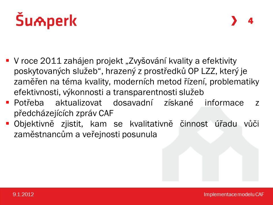 """4 9.1.2012Implementace modelu CAF  V roce 2011 zahájen projekt """"Zvyšování kvality a efektivity poskytovaných služeb , hrazený z prostředků OP LZZ, který je zaměřen na téma kvality, moderních metod řízení, problematiky efektivnosti, výkonnosti a transparentnosti služeb  Potřeba aktualizovat dosavadní získané informace z předcházejících zpráv CAF  Objektivně zjistit, kam se kvalitativně činnost úřadu vůči zaměstnancům a veřejnosti posunula"""