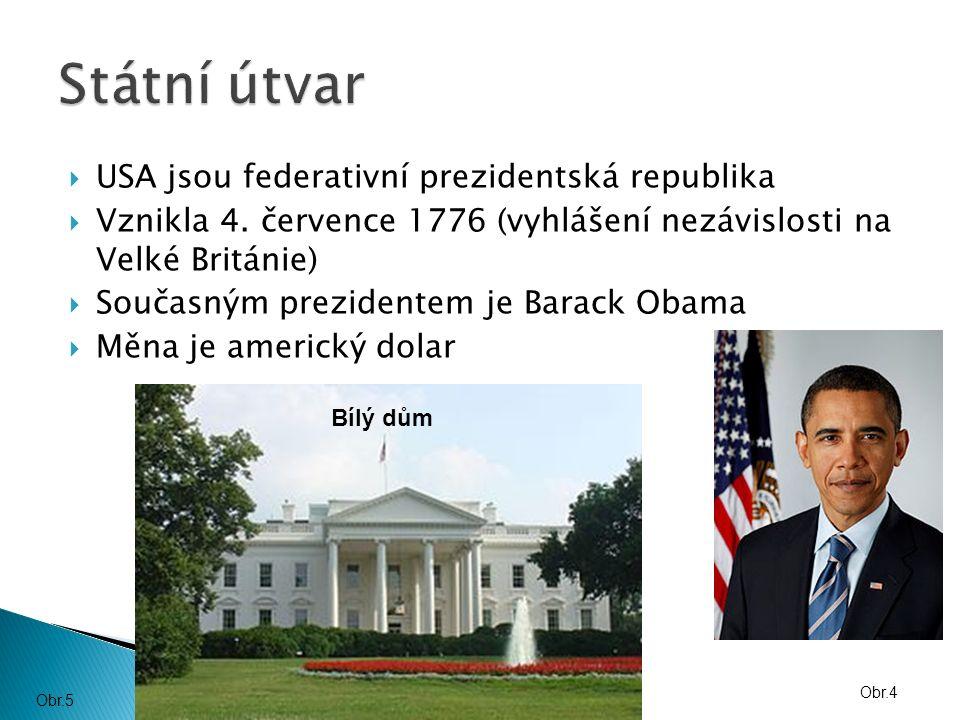  USA jsou federativní prezidentská republika  Vznikla 4.