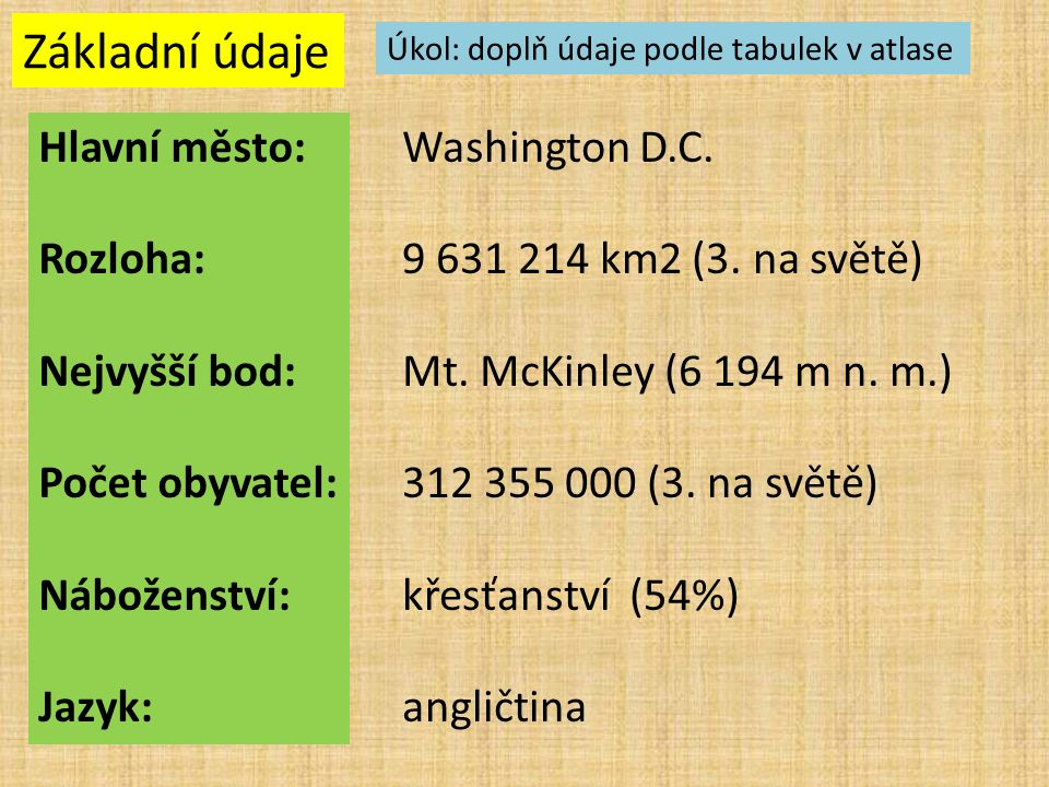 Základní údaje Hlavní město: Rozloha: Nejvyšší bod: Počet obyvatel: Náboženství: Jazyk: Washington D.C. 9 631 214 km2 (3. na světě) Mt. McKinley (6 19