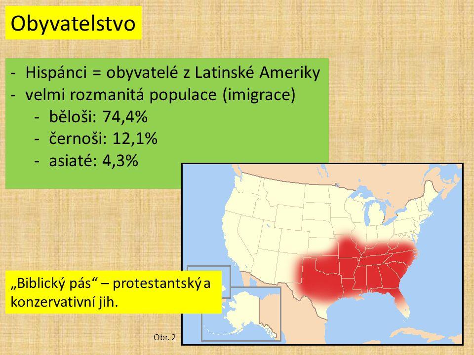"""Obyvatelstvo -Hispánci = obyvatelé z Latinské Ameriky -velmi rozmanitá populace (imigrace) -běloši: 74,4% -černoši: 12,1% -asiaté: 4,3% Obr. 2 """"Biblic"""