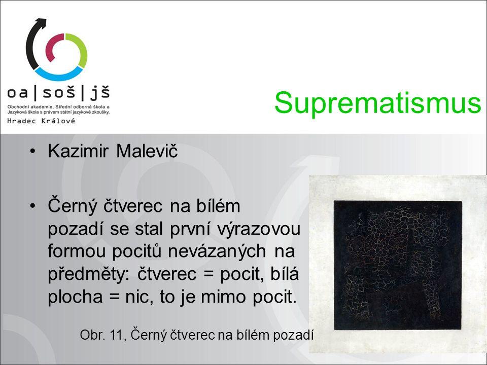Kazimir Malevič Černý čtverec na bílém pozadí se stal první výrazovou formou pocitů nevázaných na předměty: čtverec = pocit, bílá plocha = nic, to je