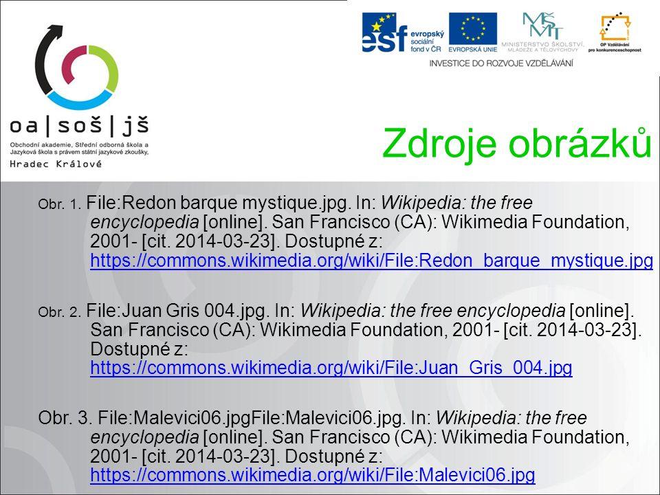 Zdroje obrázků Obr. 1. File:Redon barque mystique.jpg.
