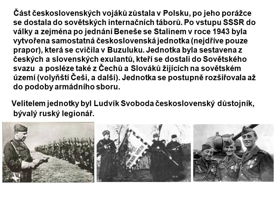 Část československých vojáků zůstala v Polsku, po jeho porážce se dostala do sovětských internačních táborů.