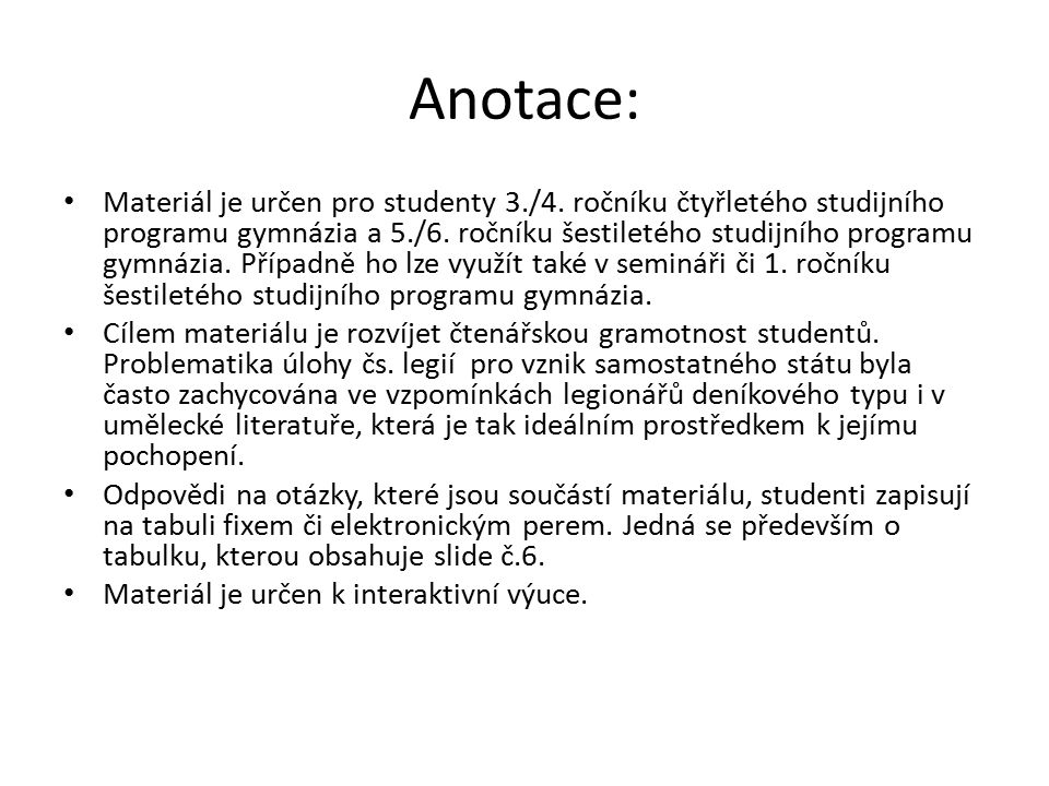 Anotace: Materiál je určen pro studenty 3./4.