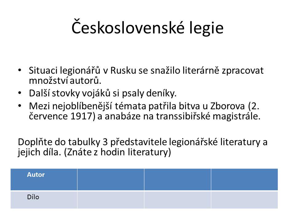 Československé legie Situaci legionářů v Rusku se snažilo literárně zpracovat množství autorů.