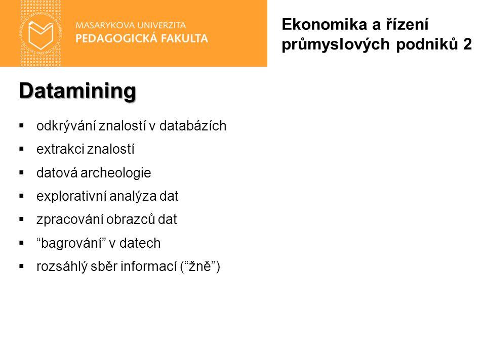 Datamining  odkrývání znalostí v databázích  extrakci znalostí  datová archeologie  explorativní analýza dat  zpracování obrazců dat  bagrování v datech  rozsáhlý sběr informací ( žně ) Ekonomika a řízení průmyslových podniků 2