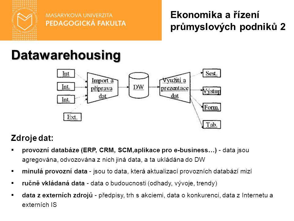 Datawarehousing Zdroje dat:  provozní databáze (ERP, CRM, SCM,aplikace pro e-business…) - data jsou agregována, odvozována z nich jiná data, a ta ukládána do DW  minulá provozní data - jsou to data, která aktualizací provozních databází mizí  ručně vkládaná data - data o budoucnosti (odhady, vývoje, trendy)  data z externích zdrojů - předpisy, trh s akciemi, data o konkurenci, data z Internetu a externích IS Ekonomika a řízení průmyslových podniků 2