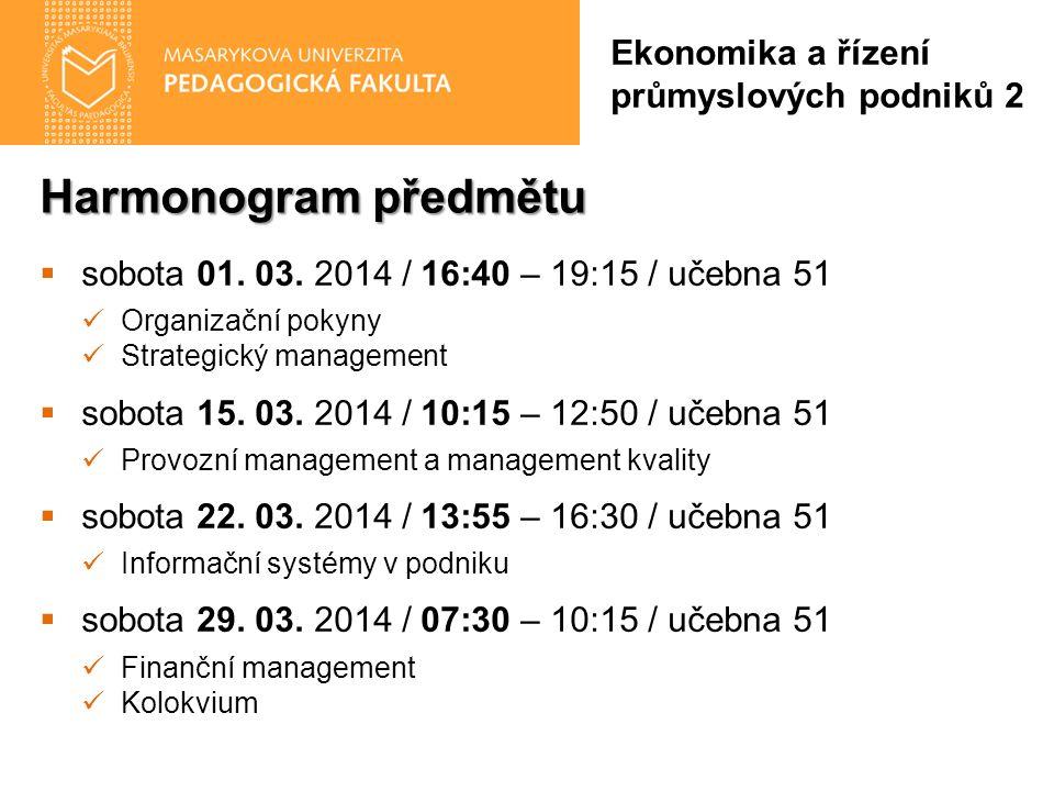 Harmonogram předmětu  sobota 01. 03.