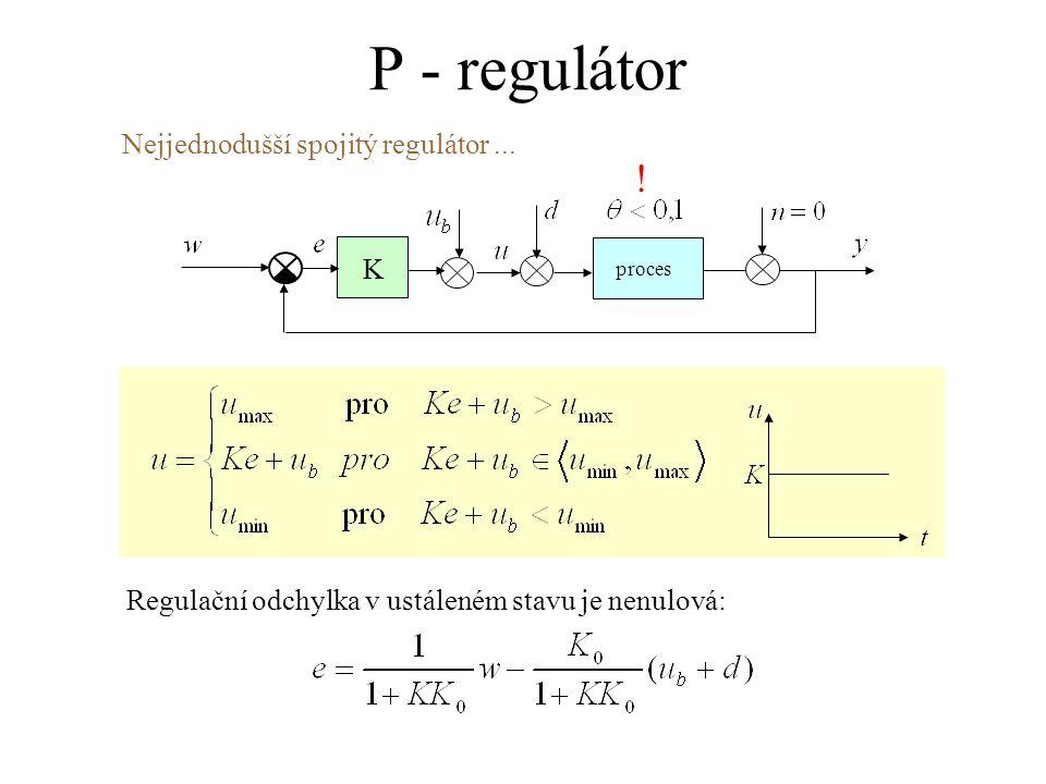 P - regulátor proces K Nejjednodušší spojitý regulátor... Regulační odchylka v ustáleném stavu je nenulová: !