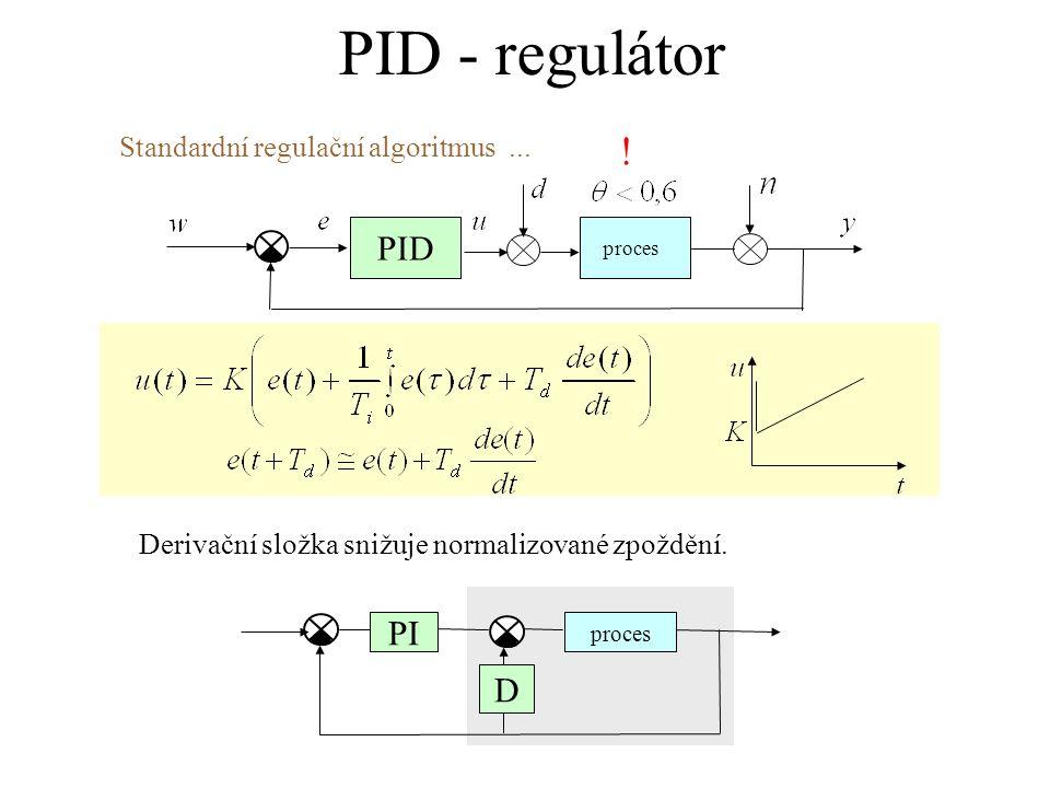 PID - regulátor proces PID Derivační složka snižuje normalizované zpoždění. PI D proces Standardní regulační algoritmus... !