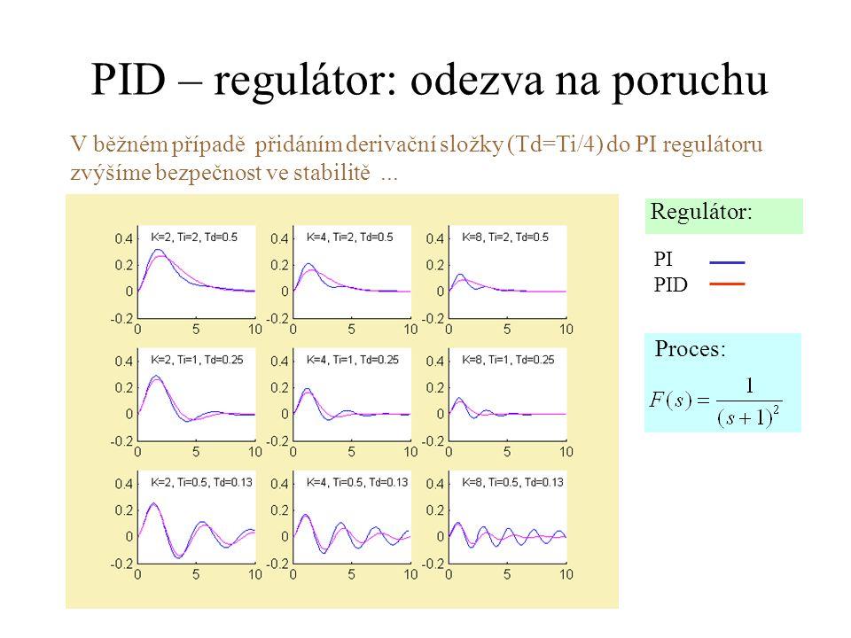 PID – regulátor: odezva na poruchu V běžném případě přidáním derivační složky (Td=Ti/4) do PI regulátoru zvýšíme bezpečnost ve stabilitě... Regulátor: