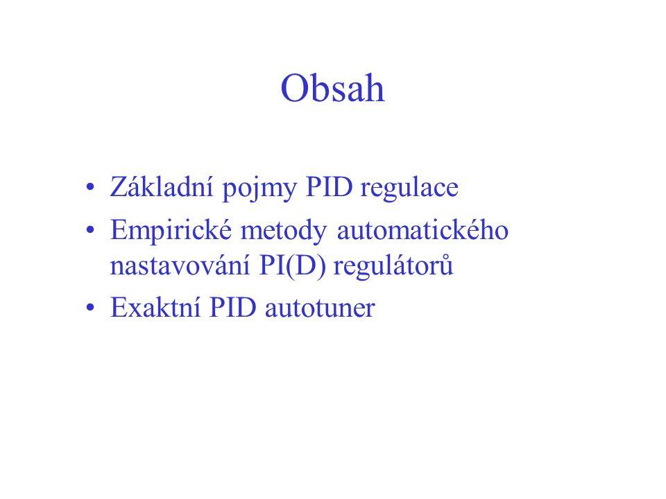Obsah Základní pojmy PID regulace Empirické metody automatického nastavování PI(D) regulátorů Exaktní PID autotuner