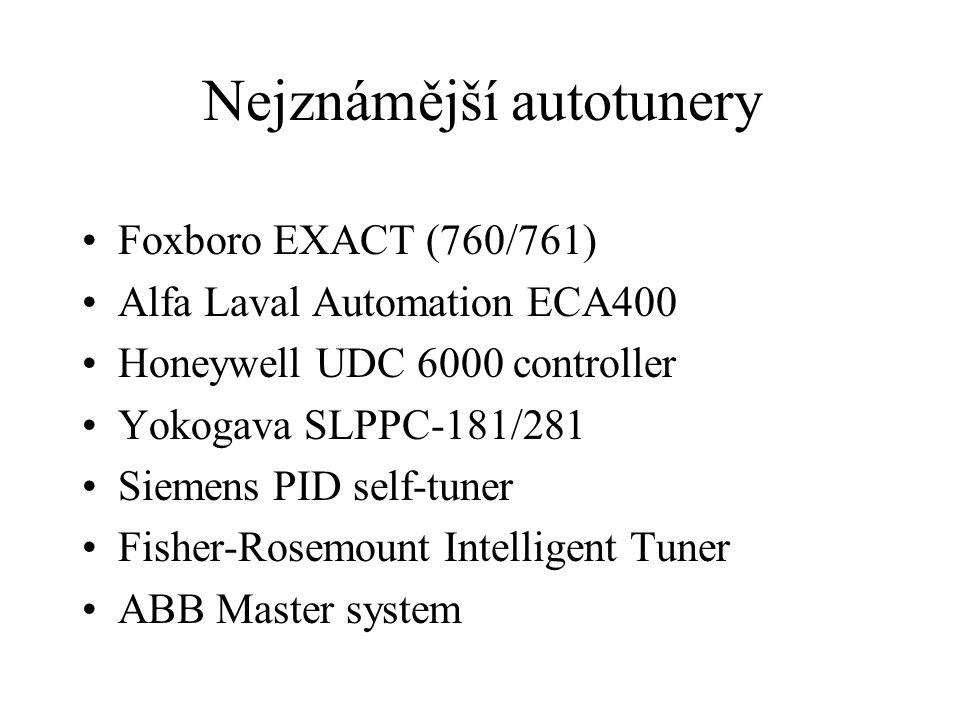 Nejznámější autotunery Foxboro EXACT (760/761) Alfa Laval Automation ECA400 Honeywell UDC 6000 controller Yokogava SLPPC-181/281 Siemens PID self-tune