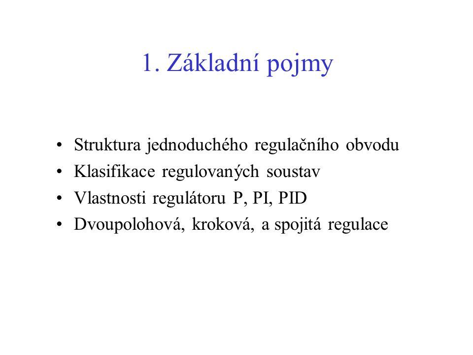 1. Základní pojmy Struktura jednoduchého regulačního obvodu Klasifikace regulovaných soustav Vlastnosti regulátoru P, PI, PID Dvoupolohová, kroková, a