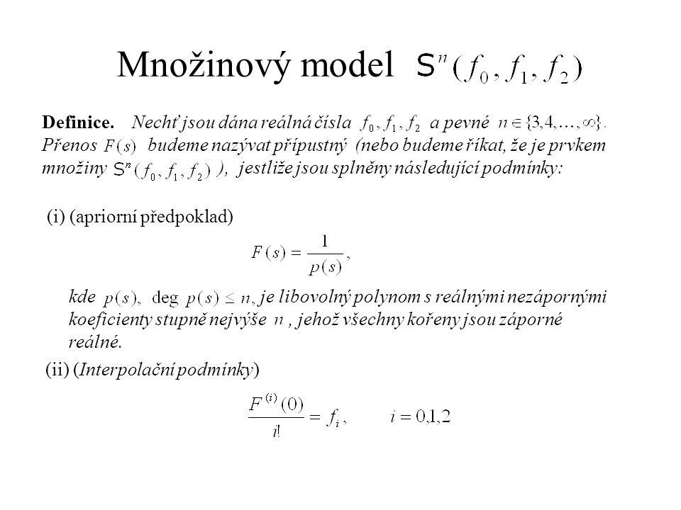 Množinový model Definice. Nechť jsou dána reálná čísla a pevné Přenos budeme nazývat přípustný (nebo budeme říkat, že je prvkem množiny ), jestliže js
