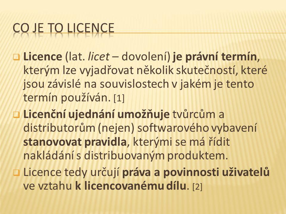  Licence (lat. licet – dovolení) je právní termín, kterým lze vyjadřovat několik skutečností, které jsou závislé na souvislostech v jakém je tento te