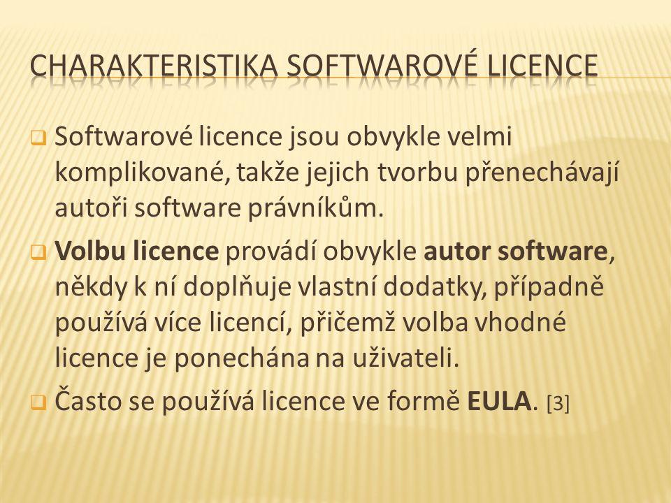  Softwarové licence jsou obvykle velmi komplikované, takže jejich tvorbu přenechávají autoři software právníkům.  Volbu licence provádí obvykle auto