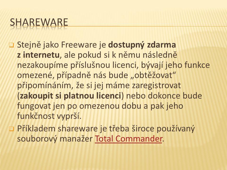  Stejně jako Freeware je dostupný zdarma z internetu, ale pokud si k němu následně nezakoupíme příslušnou licenci, bývají jeho funkce omezené, případ