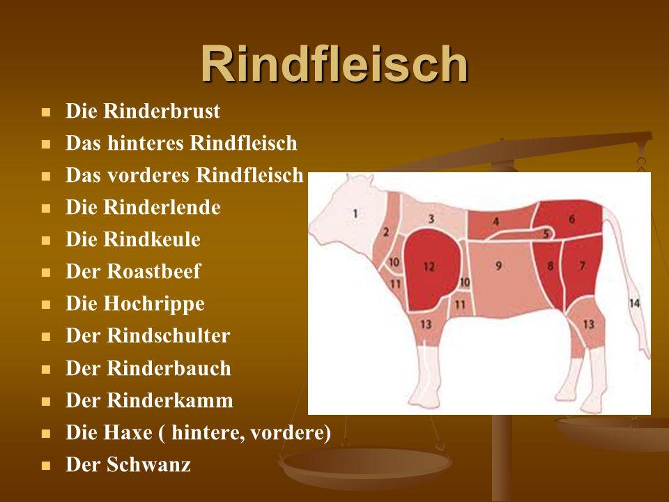 Rindfleisch Die Rinderbrust Das hinteres Rindfleisch Das vorderes Rindfleisch Die Rinderlende Die Rindkeule Der Roastbeef Die Hochrippe Der Rindschult
