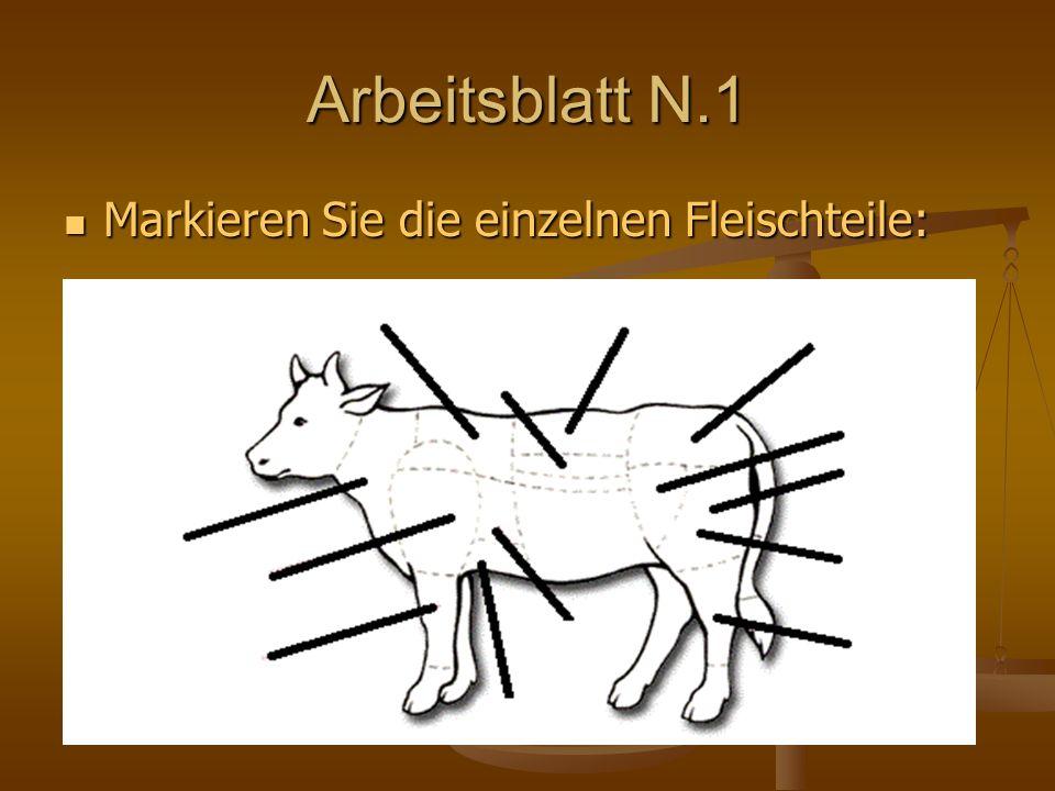 Arbeitsblatt N.1 Markieren Sie die einzelnen Fleischteile: Markieren Sie die einzelnen Fleischteile: