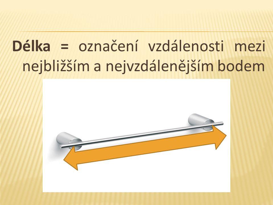 Délka = označení vzdálenosti mezi nejbližším a nejvzdálenějším bodem