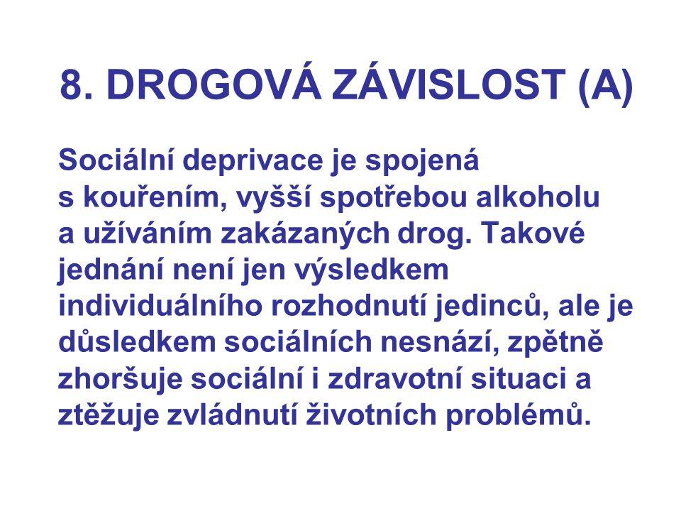 8. DROGOVÁ ZÁVISLOST (A) Sociální deprivace je spojená s kouřením, vyšší spotřebou alkoholu a užíváním zakázaných drog. Takové jednání není jen výsled