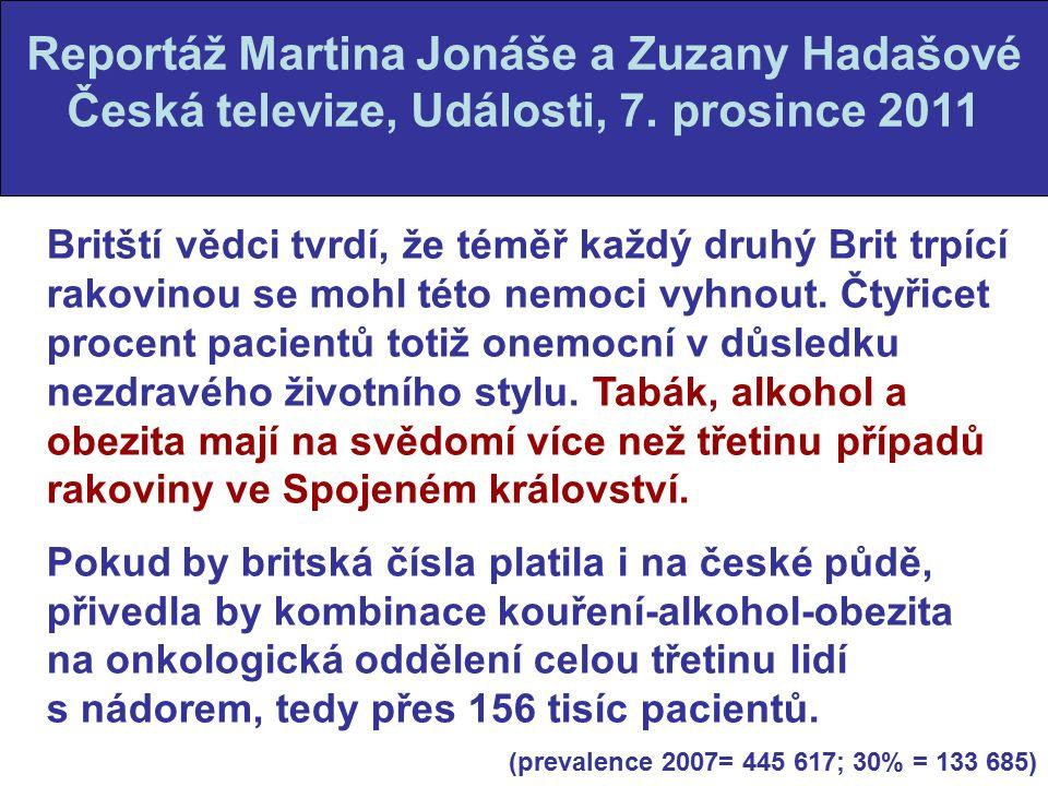 Reportáž Martina Jonáše a Zuzany Hadašové Česká televize, Události, 7. prosince 2011 Britští vědci tvrdí, že téměř každý druhý Brit trpící rakovinou s