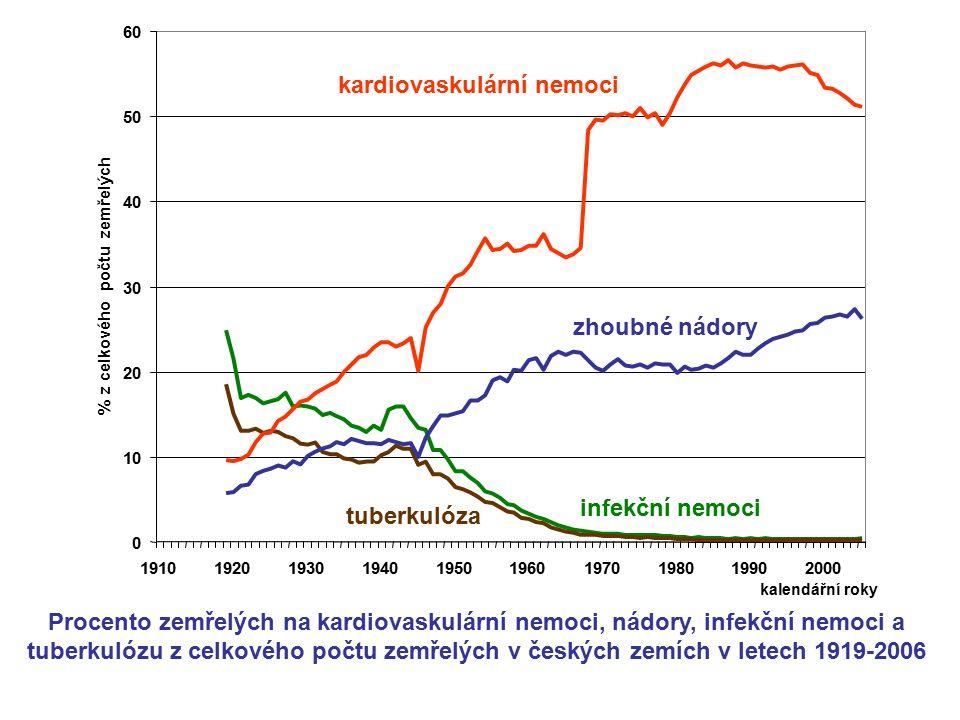 Procento zemřelých na kardiovaskulární nemoci, nádory, infekční nemoci a tuberkulózu z celkového počtu zemřelých v českých zemích v letech 1919-2006 k