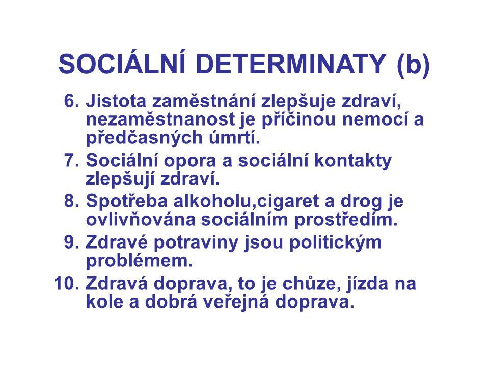 SOCIÁLNÍ DETERMINATY (b) 6.Jistota zaměstnání zlepšuje zdraví, nezaměstnanost je příčinou nemocí a předčasných úmrtí. 7.Sociální opora a sociální kont