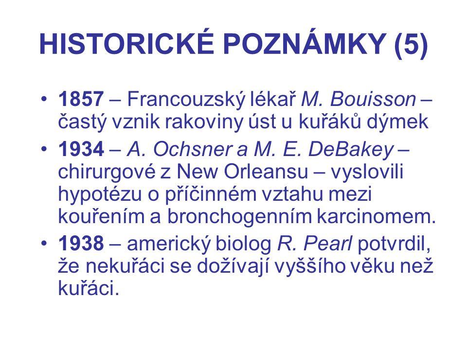 HISTORICKÉ POZNÁMKY (5) 1857 – Francouzský lékař M. Bouisson – častý vznik rakoviny úst u kuřáků dýmek 1934 – A. Ochsner a M. E. DeBakey – chirurgové