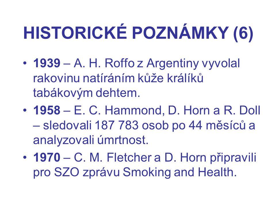 HISTORICKÉ POZNÁMKY (6) 1939 – A. H. Roffo z Argentiny vyvolal rakovinu natíráním kůže králíků tabákovým dehtem. 1958 – E. C. Hammond, D. Horn a R. Do