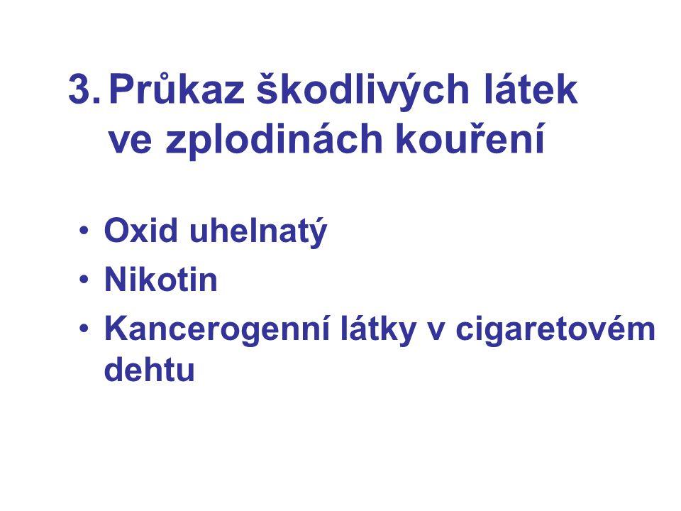 3.Průkaz škodlivých látek ve zplodinách kouření Oxid uhelnatý Nikotin Kancerogenní látky v cigaretovém dehtu