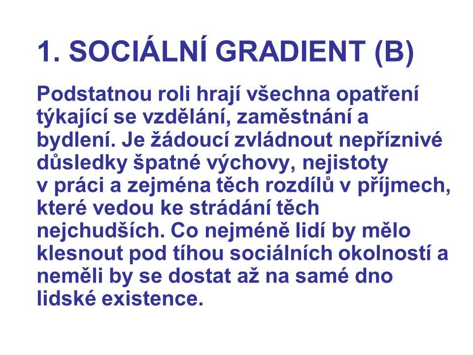 1. SOCIÁLNÍ GRADIENT (B) Podstatnou roli hrají všechna opatření týkající se vzdělání, zaměstnání a bydlení. Je žádoucí zvládnout nepříznivé důsledky š