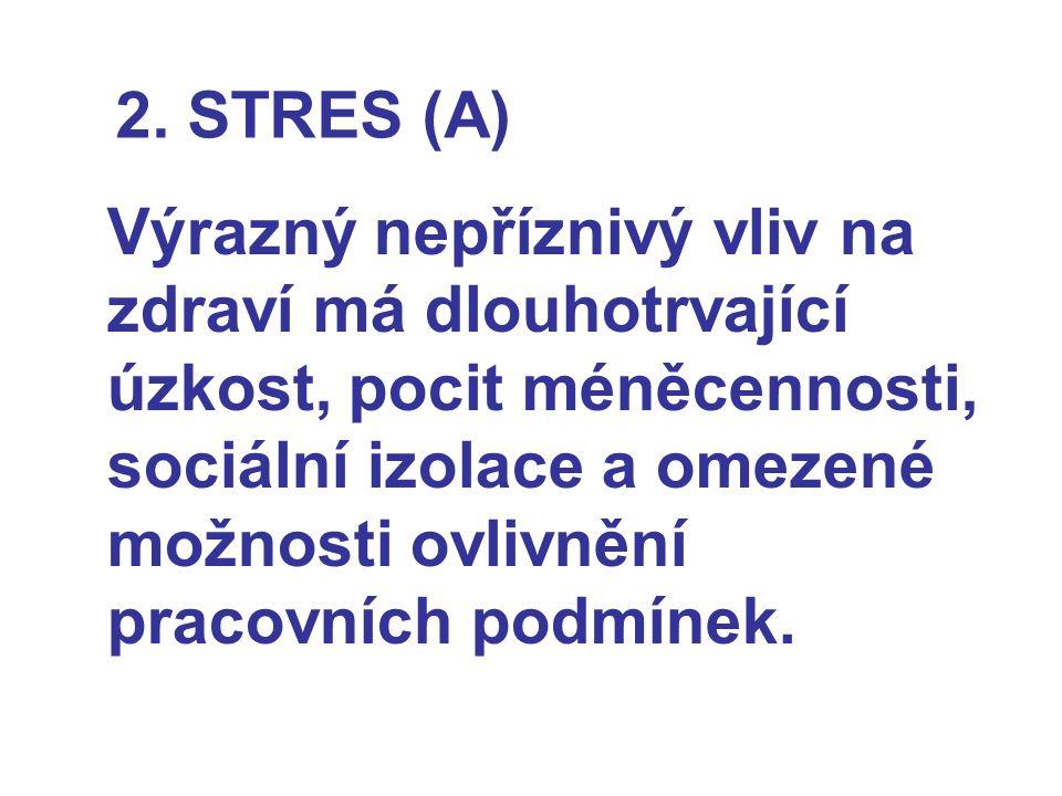 2. STRES (A) Výrazný nepříznivý vliv na zdraví má dlouhotrvající úzkost, pocit méněcennosti, sociální izolace a omezené možnosti ovlivnění pracovních