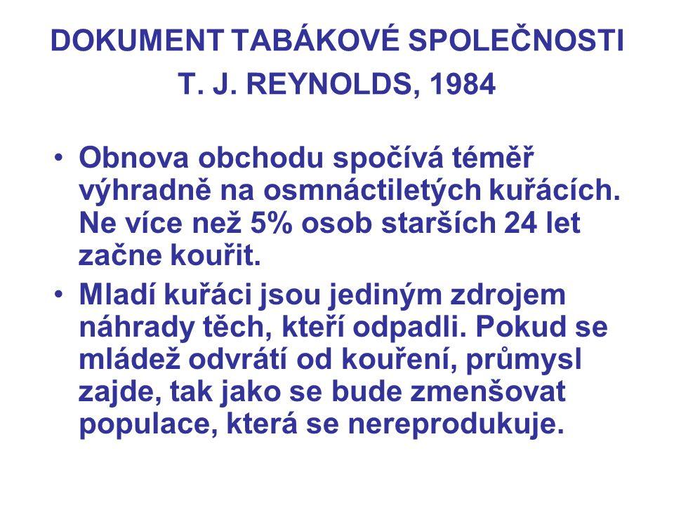 DOKUMENT TABÁKOVÉ SPOLEČNOSTI T. J. REYNOLDS, 1984 Obnova obchodu spočívá téměř výhradně na osmnáctiletých kuřácích. Ne více než 5% osob starších 24 l