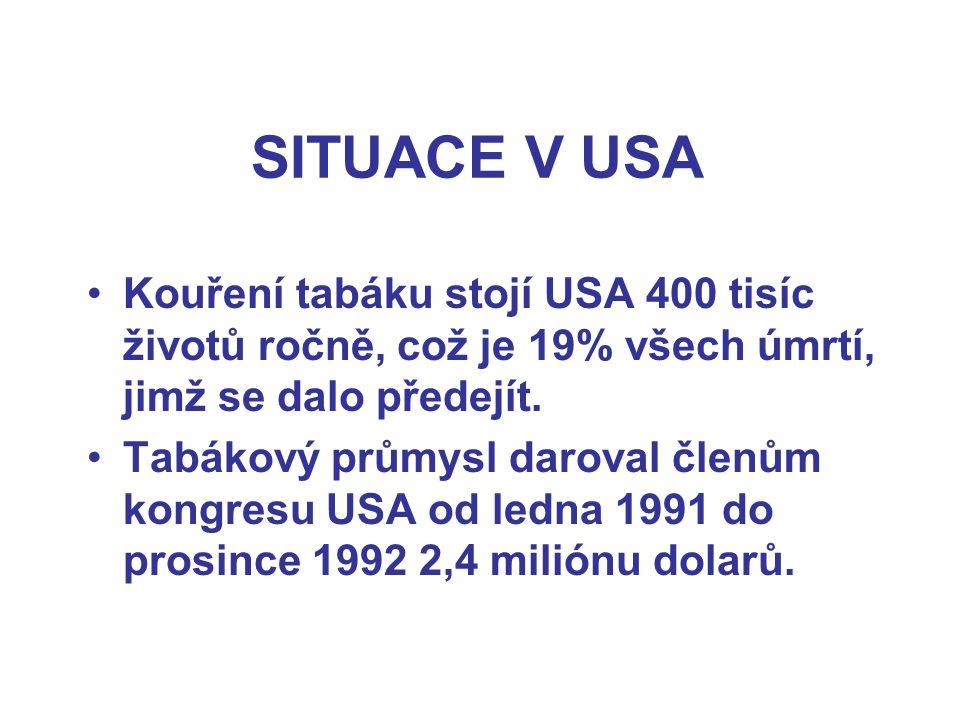 SITUACE V USA Kouření tabáku stojí USA 400 tisíc životů ročně, což je 19% všech úmrtí, jimž se dalo předejít. Tabákový průmysl daroval členům kongresu