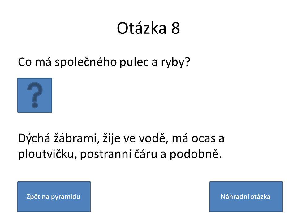 Otázka 8 Co má společného pulec a ryby.
