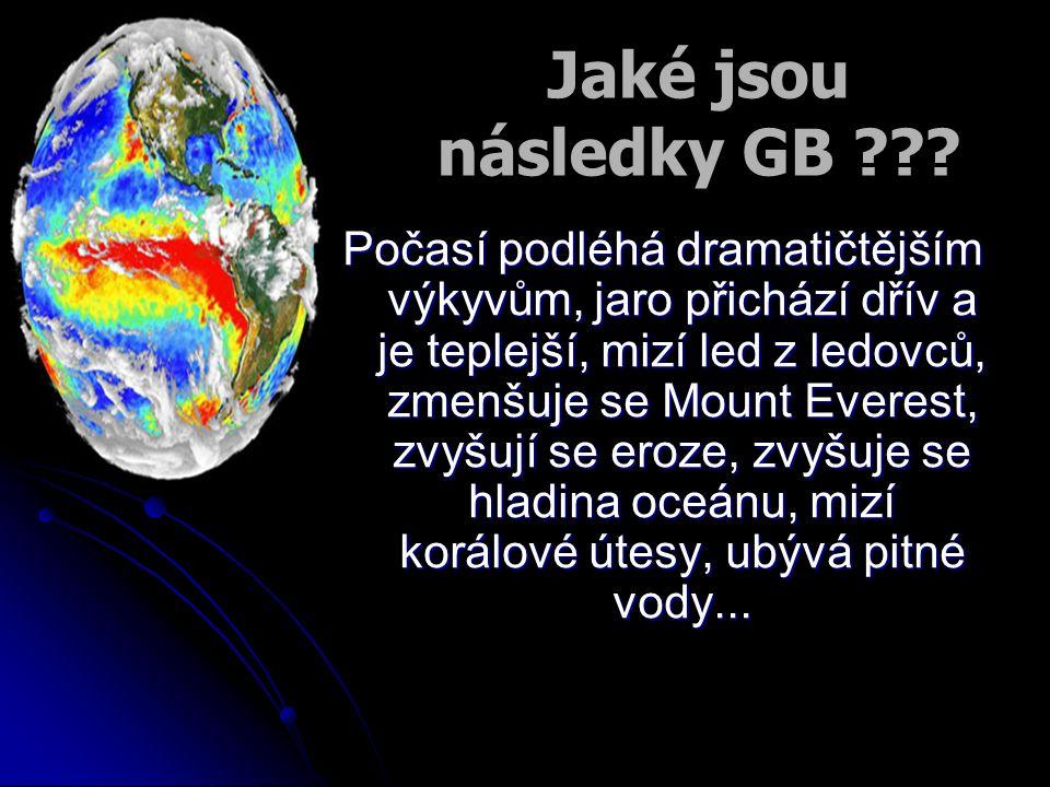 Jaké jsou následky GB ??? Počasí podléhá dramatičtějším výkyvům, jaro přichází dřív a je teplejší, mizí led z ledovců, zmenšuje se Mount Everest, zvyš