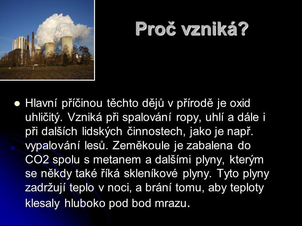 Proč vzniká? Hlavní příčinou těchto dějů v přírodě je oxid uhličitý. Vzniká při spalování ropy, uhlí a dále i při dalších lidských činnostech, jako je