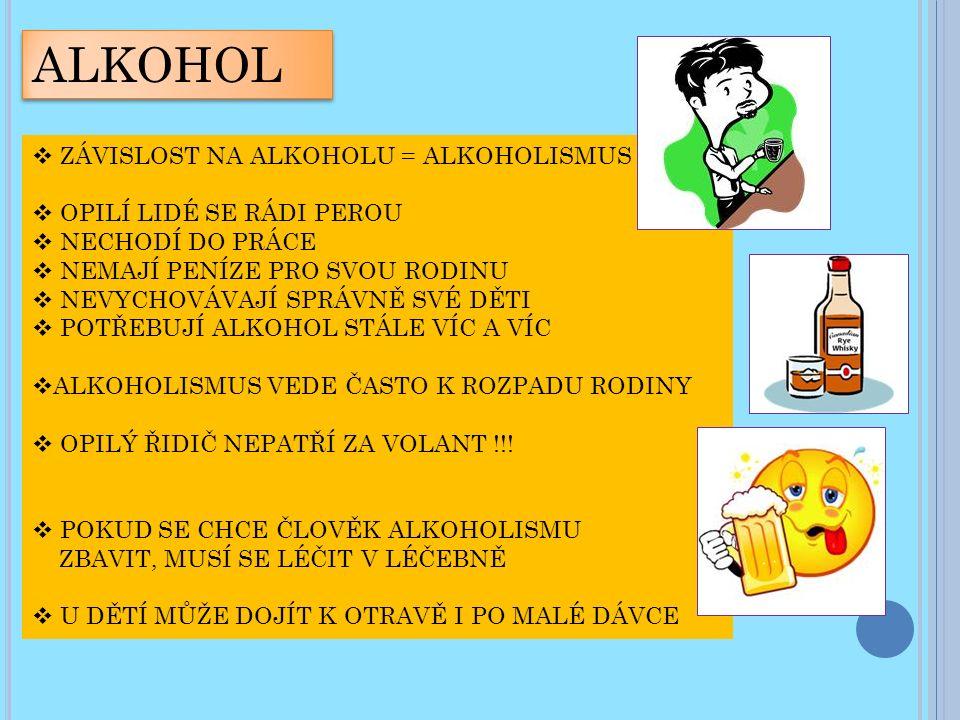 ALKOHOL  ZÁVISLOST NA ALKOHOLU = ALKOHOLISMUS  OPILÍ LIDÉ SE RÁDI PEROU  NECHODÍ DO PRÁCE  NEMAJÍ PENÍZE PRO SVOU RODINU  NEVYCHOVÁVAJÍ SPRÁVNĚ SVÉ DĚTI  POTŘEBUJÍ ALKOHOL STÁLE VÍC A VÍC  ALKOHOLISMUS VEDE ČASTO K ROZPADU RODINY  OPILÝ ŘIDIČ NEPATŘÍ ZA VOLANT !!.