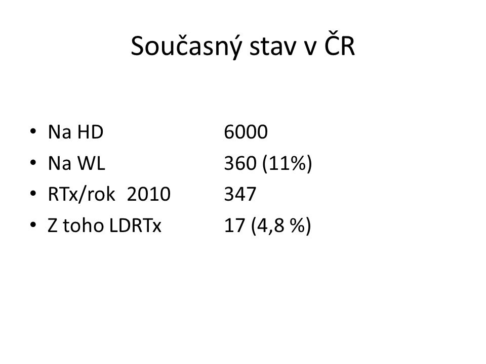 Současný stav v ČR Na HD6000 Na WL360 (11%) RTx/rok2010347 Z toho LDRTx17 (4,8 %)