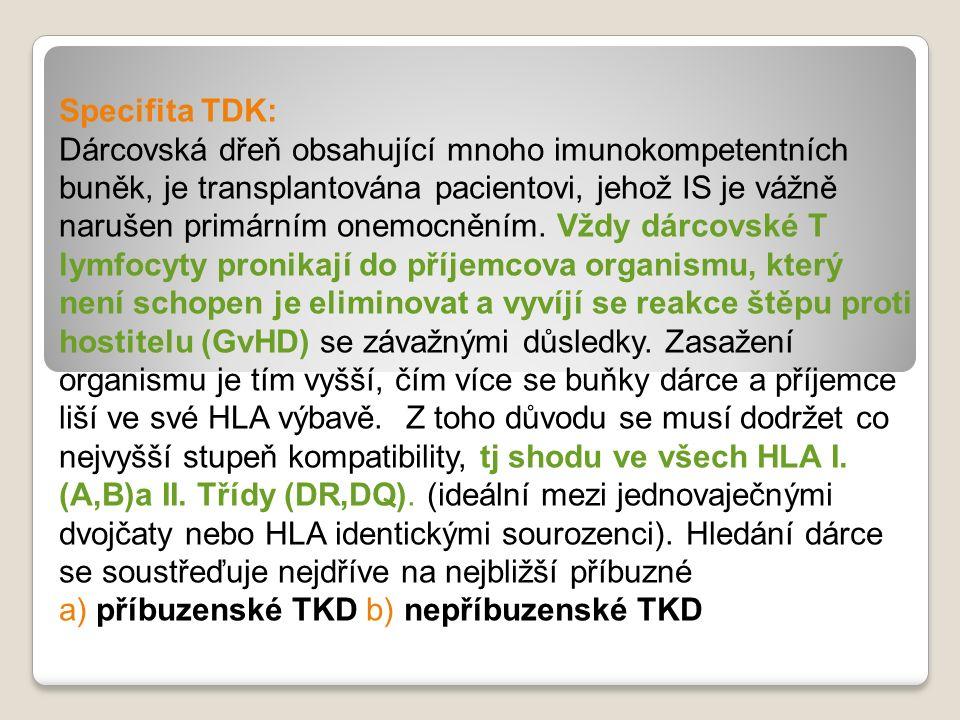 Specifita TDK: Dárcovská dřeň obsahující mnoho imunokompetentních buněk, je transplantována pacientovi, jehož IS je vážně narušen primárním onemocnění