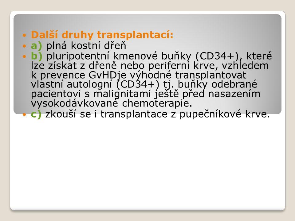 Další druhy transplantací: a) plná kostní dřeň b) pluripotentní kmenové buňky (CD34+), které lze získat z dřeně nebo periferní krve, vzhledem k prevence GvHDje výhodné transplantovat vlastní autologní (CD34+) tj.