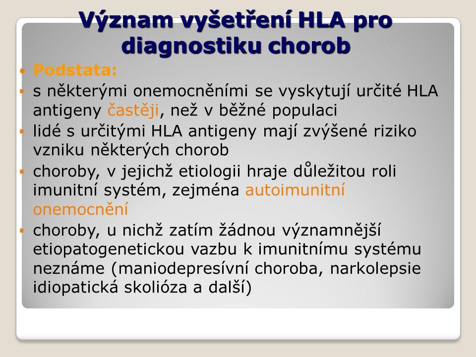 Význam vyšetření HLA pro diagnostiku chorob Podstata:  s některými onemocněními se vyskytují určité HLA antigeny častěji, než v běžné populaci  lidé