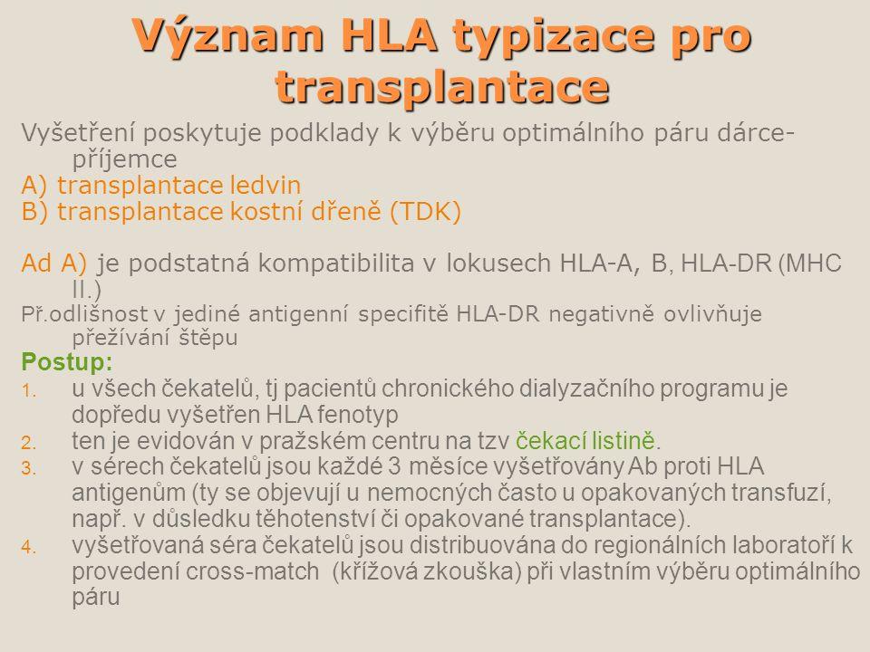 Význam HLA typizace pro transplantace Vyšetření poskytuje podklady k výběru optimálního páru dárce- příjemce A) transplantace ledvin B) transplantace kostní dřeně (TDK) Ad A) je podstatná kompatibilita v lokusech HLA-A, B, HLA-DR (MHC II.) Př.