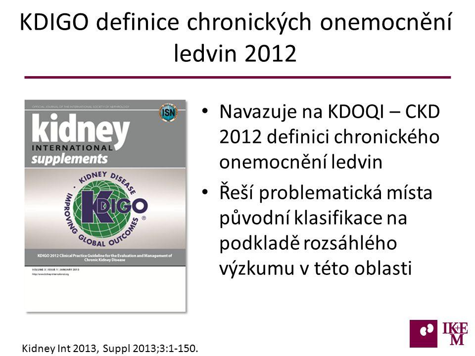 KDIGO definice chronických onemocnění ledvin 2012 Navazuje na KDOQI – CKD 2012 definici chronického onemocnění ledvin Řeší problematická místa původní klasifikace na podkladě rozsáhlého výzkumu v této oblasti Kidney Int 2013, Suppl 2013;3:1-150.