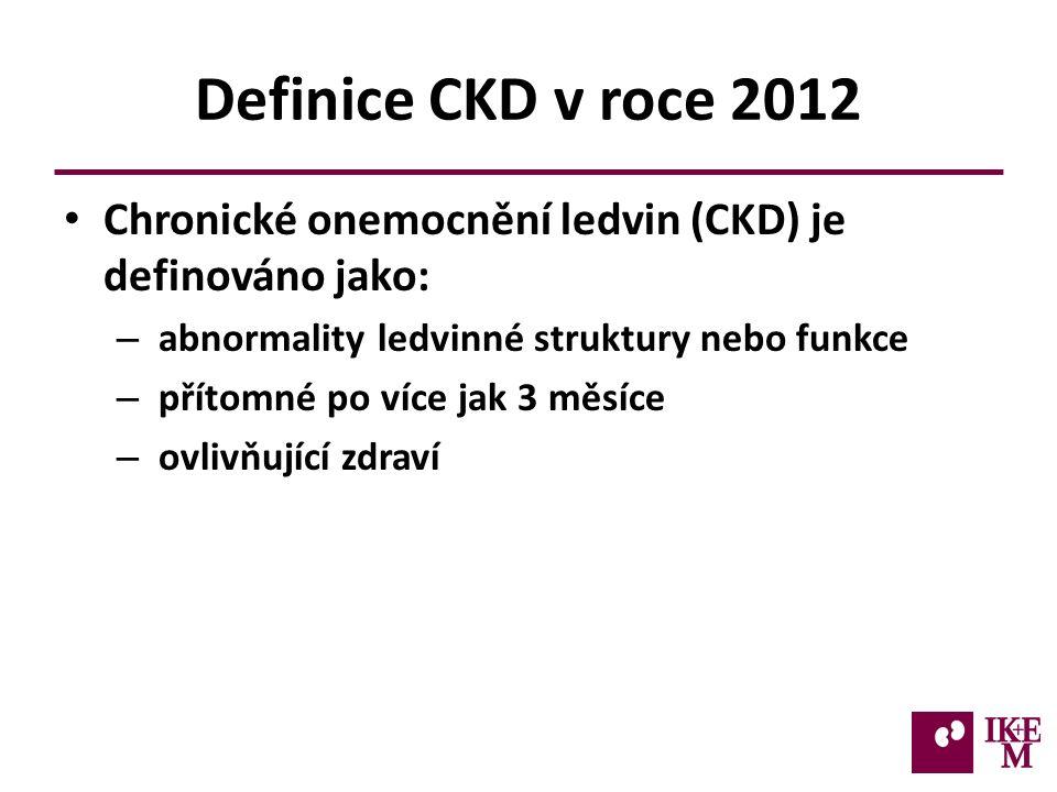 Definice CKD v roce 2012 Chronické onemocnění ledvin (CKD) je definováno jako: – abnormality ledvinné struktury nebo funkce – přítomné po více jak 3 měsíce – ovlivňující zdraví