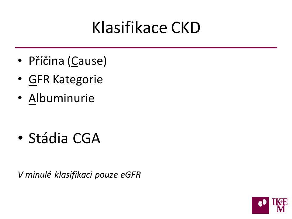 Klasifikace CKD Příčina (Cause) GFR Kategorie Albuminurie Stádia CGA V minulé klasifikaci pouze eGFR
