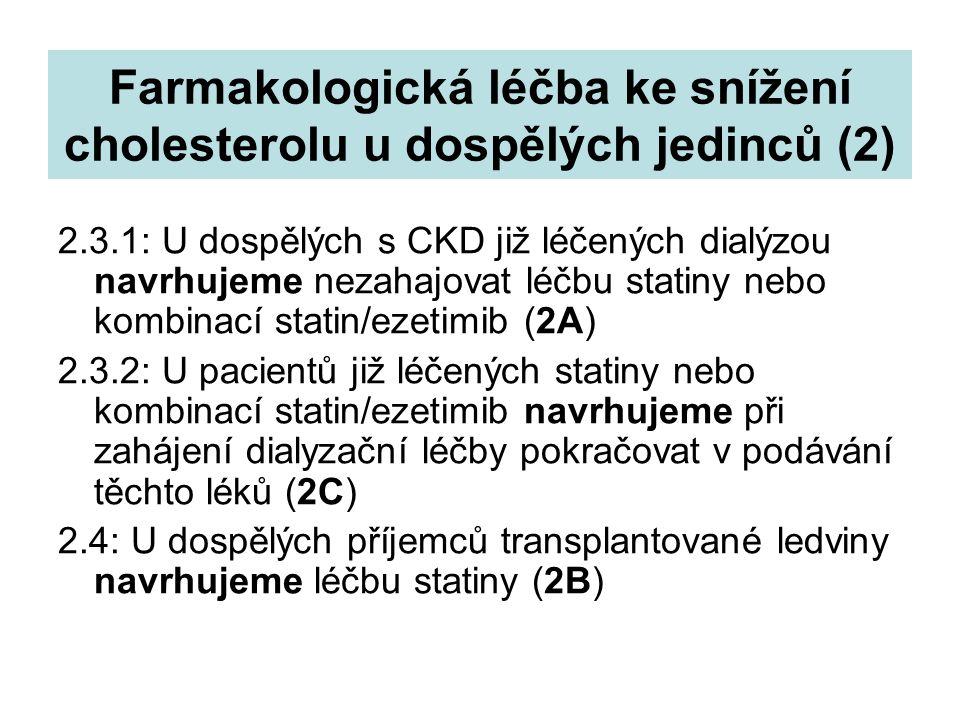 Farmakologická léčba ke snížení cholesterolu u dospělých jedinců (2) 2.3.1: U dospělých s CKD již léčených dialýzou navrhujeme nezahajovat léčbu stati